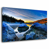 Beautiful Scenery Mountain Lake River Wild Nature Canvas Wall Art Picture Print