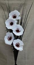 Artificiales De Seda Blanco Poppy ramo de flores con césped 80cm Listo Para Su Florero