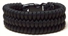 Black Trilobite Weave Survival Wear Whistle Buckle Paracord Bracelet