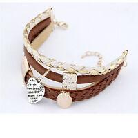 Fashion Bracelet Jewelry Leather Infinity Charm Cuff Bangle Wrap Womens Gift top