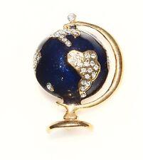 BROOCH globe, enamel, rhinestones, gold-tone metal
