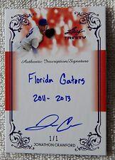 Jonathon Crawford Signed 2013 Leaf Trinity Purple Inscription Auto #1/1 Reds