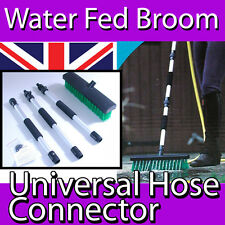 WATER FED WET DRY BRUSH BROOM YARD PATIO SWEEPER HOSE PIPE CONNECTOR COMPACT