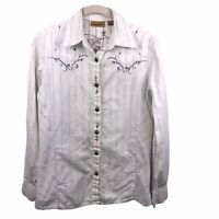 Wrangler Women's Small Snap Western Embroidered Striped Long Sleeve Shirt