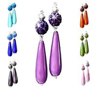 Earrings lightweight teardrop pave bead, choose color and clip on or pierced