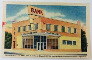 Vintage Denver Colorado CO Mountain States Bank Linen Postcard Colfx & Gilpin