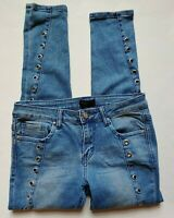 Rocawear Jeans Size 5 6 Juniors Womens Stretch Slim Blue Embellished Holes
