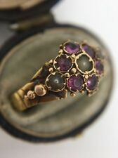 Antique Victorian Yellow Gold Amethyst Pearl Forget Me Not Pansy Ring Band