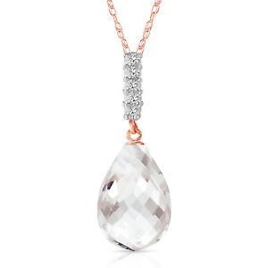 "7. CTW 14K  Rose gold fine Necklace 16-24"" Diamond Briolette Drop White To"