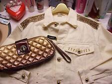 women's sz M jean style Cache jacket w/ leopard print trim SEXY + Express clutch