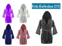 Kids Boys Girls 100% Egyptian Cotton Bathrobes Terry Towelling Hooded Bath Robe