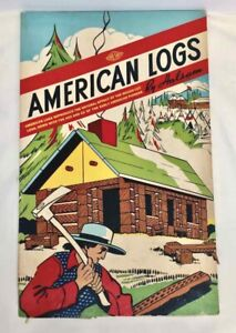 1939-40s AMERICAN LOGS by HALSAM 43 PIECES Long Wood Original Box