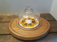 Vintage 1970s Goodwood Teak Wood Oval Cheese Tray Board With Glass Dome MCM