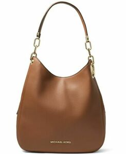 NWOT Michael Kors Lillie Large Chain Leather Shoulder Bag Tote Luggage Brown