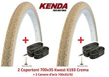 "2 copertoni KENDA 700x35 kwest Crema 2 camere D'aria per bici 28"" Trekking"