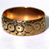 Pretty 1892 Engraved 9ct Rose Gold 7mm Wide Wedding Band Ring O 1/2 ~ 7 1/2