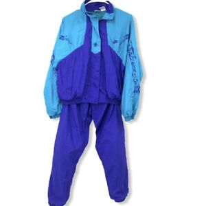 Nike Color Block  Track Suit Teal Blue Womens Small Hip Hop 90s Vintage