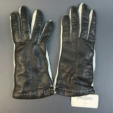 Vintage Neiman Marcus Black & White Cashmere Lined Gloves Sz 7.5 Made in Italy