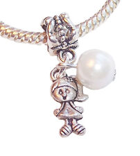 June Birthstone Little Girl Baby Pearl Gift Dangle Charm for European Bracelets