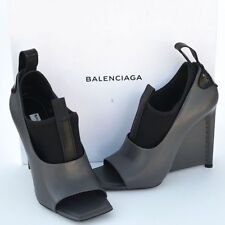BALENCIAGA New sz 37 7 Authentic Designer Womens Heels Shoes open toe gray black