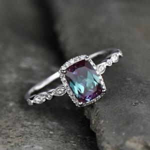 Sterling Silver Color Changing Alexandrite Halo Engagement Wedding Ring