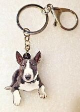 Bull Terrier Dog Realistic Looking Flat Acrylic Key Ring Keychain Jewelry