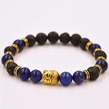 Men's Black Lava Rock & lapis lazul Stone Gold Buddha Head Beaded Bracelet