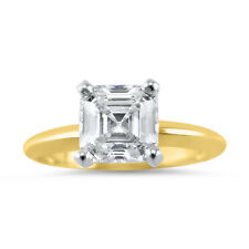 1 Carat Cubic Zirconia CZ Asscher Cut  solitaire Engagement Ring 14K Yellow Gold