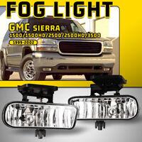 Fits 00-06 GMC Yukon 99-02 Sierra Fog Lights Bumper Clear Lens Replacement Lamps