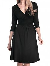 Glamour Empire Womens Knee Length 3/4 Sleeve Viscose Circle Dress 282 Black UK