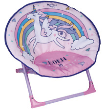 New Comfy Childrens Foldable Unicorn Moon Chair Seat - Perfect For Their Room