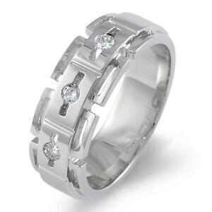 0.25Ct Three Stone Mens Round Diamond Wedding Band Ring 950 Platinum VVS1 8.45mm
