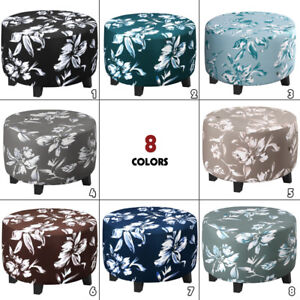 Stretch Round Floral Ottoman Cover Elastic Footstool Slipcover Protector 20-41in