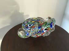 Art Glass paperweight/Ornament Stylised Frog Millefiori