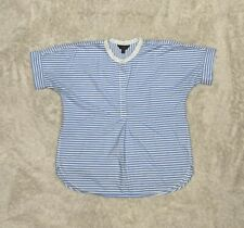 J Crew Tunic Blue White Half Button Short Sleeve Shirt Medium EUC