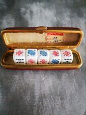 More details for vintage complete set of 5 bakelite poker dice with original red / gold case
