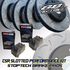 Front+Rear Slotted Only CSR [88ROTORS] Brake Rotors & Stoptech Pads BB6 Prelude