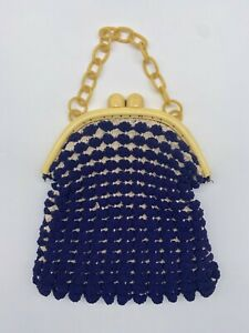 Vintage 40's Crochet Purse Celluloid Frame Chain Handle Corde Clam Shell