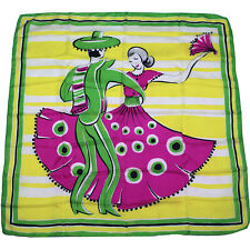 50s Vintage Flamenco Dancer Silk Scarf, Mid Century Graphics, Pink Green Yellow