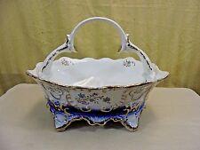 Vintage Romania Arpo Curtea De Arges Fine Porcelain Cobalt & Gold Footed Basket