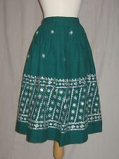Vintage1950s Cotton Skirt Emerald Green Embroidered Embellished Ethnic Small
