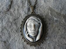 -ZOMBIE, GYPSY, TATOO (HAND PAINTED) CAMEO PENDANT NECKLACE- GOTH, DAY OF DEAD