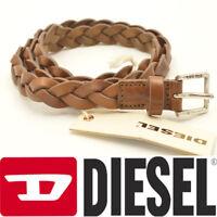 Diesel BEURY CINTURA Ladies Girls Womens Brown Braided Leather Belts Waist 80cm