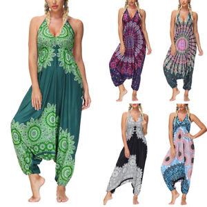 Women Strappy Floral Baggy Hippie Jumpsuit Drop Crotch Harem Romper Dungarees