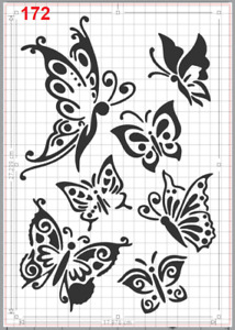 Beautiful Butterfly Stencil MYLAR A4 sheet strong resuable Art Craft Wall Deco