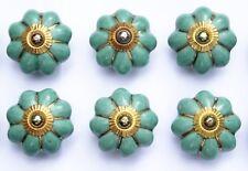 Aqua Green flower Gold lines (brass fittings) ceramic porcelain pulls knobs x 6