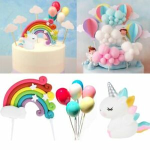 1pc Rainbow Unicorn Cake Toppers Cupcake Flags Decor Topper Birthday Party Decor