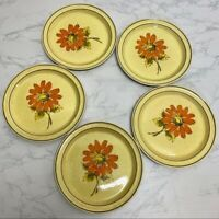 Vintage Shamrock Irish Stone Bundle of 5 Salad Plates Floral Mid Century MC GUC