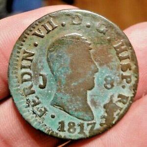 1817 PIRATE COB SPANISH 8 MARAVEDIS COLONIAL COIN FERNANDO / FERDINAND VII