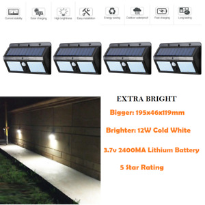 4X40 LED Solar Powered 12W PIR Motion Sensor All in ONE Outdoor Security Light